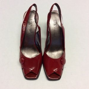 FRANCO SARTO Red Patent Leather Slingback Pumps